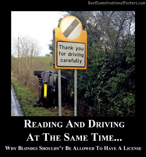 reading-and-driving-blonde-best-demotivational-posters