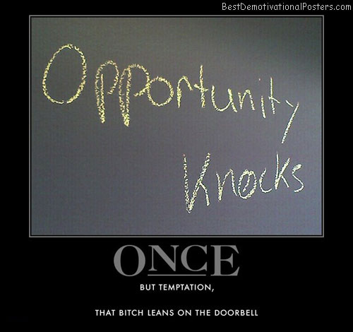 opportunity-knocks-once-temptation-best-demotivational-posters