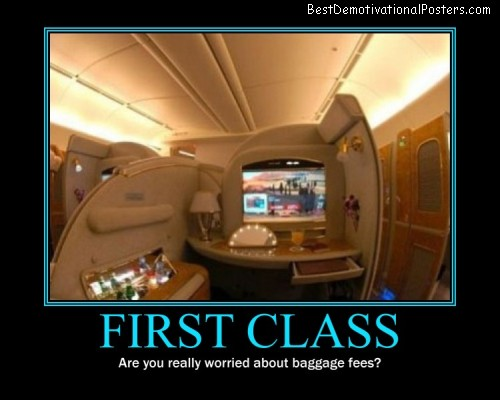 first class plane travel demotivational posster