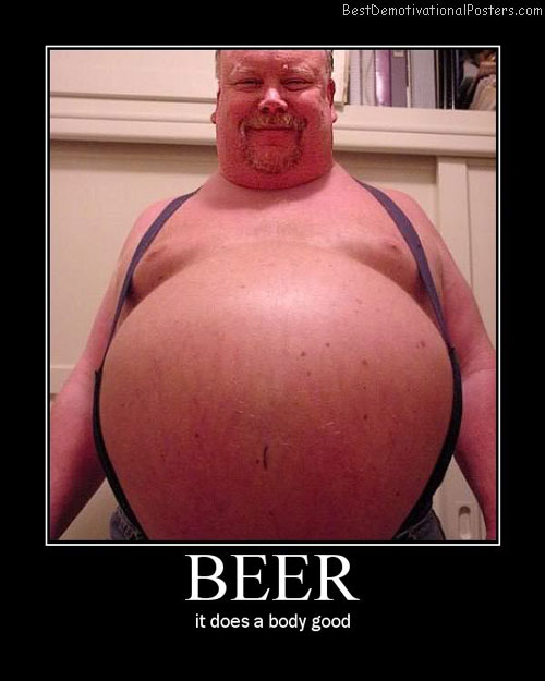 beer stomach demotivational poster