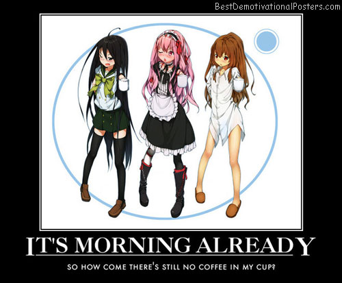 it's morning already coffee cup anime
