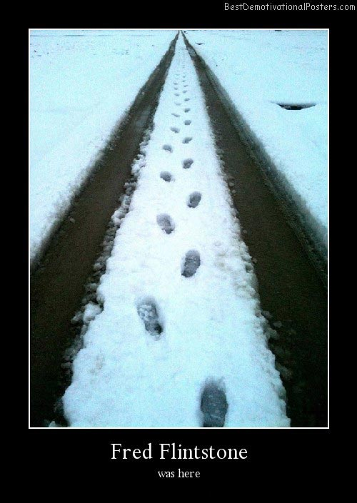 Footsteps Snow Best Demotivational Poster