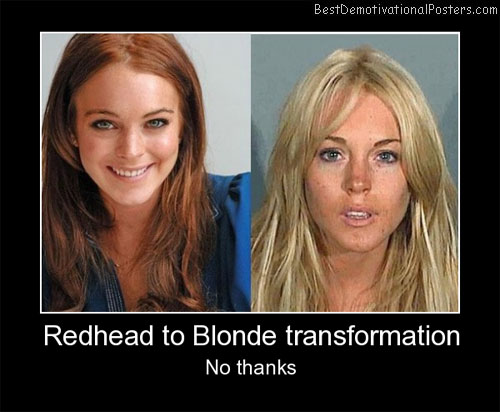 Redhead To Blonde Transformation Best Demotivational Posters