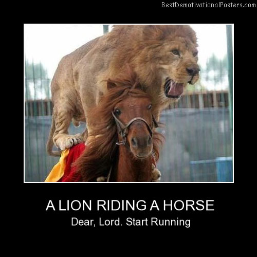 A Lion Riding A Horse Best Demotivational Posters