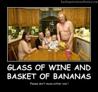 Glass Of Wine And Basket Of Bananas